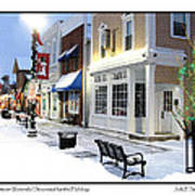 Downtown Waterville Decorated For The Holidays Poster