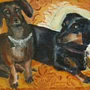 Doxie Duo Poster by Susan Hanlon