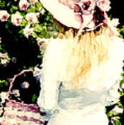 Dreamy Cottage Chic Girl Holding Basket Roses Poster