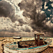 Dreamy Wrecked Wooden Fishing Boats Poster
