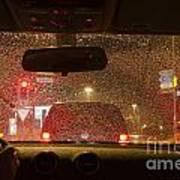 Driving A Car At Night Poster