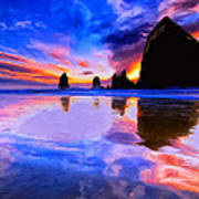 Dusk At Cannon Beach Poster