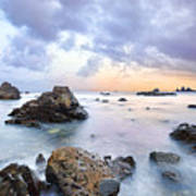 Dusk At Oze Rocky Shore Poster