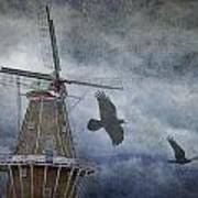 Dutch Windmill With Ravens Poster