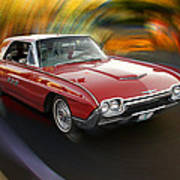 Early 60s Red Thunderbird Poster