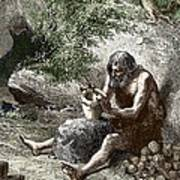 Early Human Making Pottery Poster