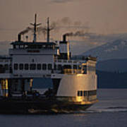 Early Morning Ferry Leaves Seattle Poster