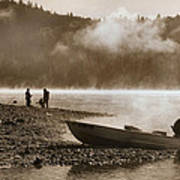 Early Morning Fishing On Scotts Flat Lake In Sepia Poster