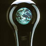 Earth In Light Bulb  Poster
