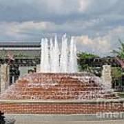 Earthen Brick Water Fountain W Blue Skye Poster