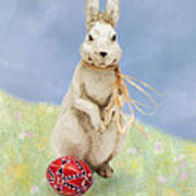 Easter Bunny With A Painted Egg Poster