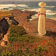 Edwardian Lady By The Sea Poster