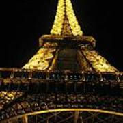 Eiffel Tower In Lights Poster