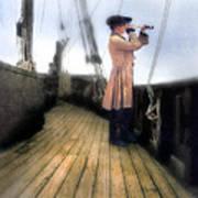 Eighteenth Century Man With Spyglass On Ship Poster