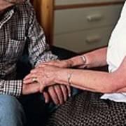 Elderly Couple Holding Hands Poster