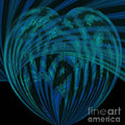 Electric Blue Heart Poster