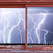 Electric Skies Red Barn Picture Window Frame Photo Art  Poster