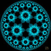 Electric Turquoise Flowers Poster