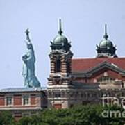 Ellis Island And Statue Of Liberty Poster