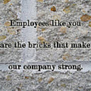 Employee Service Anniversary Thank You Card - Cement Wall Poster