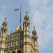 England, London, Union Flag Flown On Houses Of Parliament, Low Angle Poster