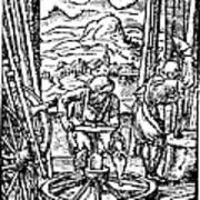 Engraving Of Wheel Manufacture In The 16th Century Poster