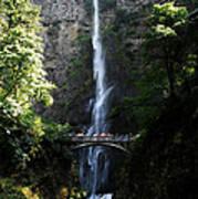 Enjoying Multnomah Falls Poster