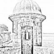 Entrance To Sentry Tower Castillo San Felipe Del Morro Fortress San Juan Puerto Rico Bw Line Art Poster