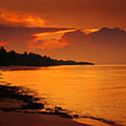 Epic Sunset In The Tropical Maldivian Island Poster