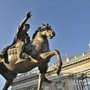 Equestrain Statue Of Emperor Marcus Aurelius In Piazza Del Campidoglio.capitoline Hill. Rome. Italy. Poster by Bernard Jaubert