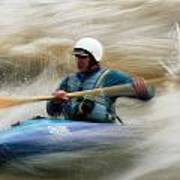 Eric Brown Paddling The Whitewater Poster