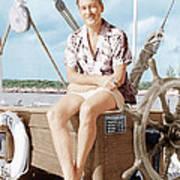 Errol Flynn Relaxing On His Yacht, Ca Poster