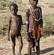 Ethiopia-south Tribesman Boy And Sister No.1 Poster