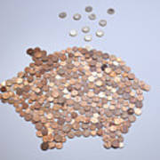 Euro Coins Falling Into A Piggy Bank Made From Arranged European Coins Poster by Larry Washburn