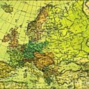 Europe Map Of 1911 Poster