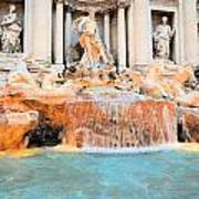 Evening At Trevi Fountain Poster