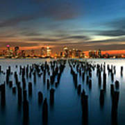 Evening Sky Over The Hudson River Poster