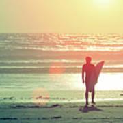 Evening Surfer Poster