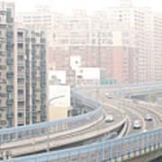 Expressway Through City Poster