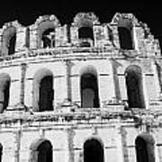 External View Of Three Upper Tiers Of Archways Of Old Roman Colloseum El Jem Tunisia Poster