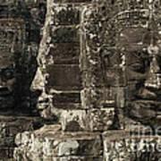 Faces Of Banyon Angkor Wat Cambodia Poster