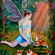 Fae And Corgi Pups Poster by Lyn Cook