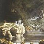 Fairies By A Rocky Stream Poster