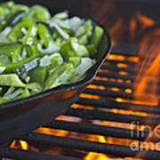 Fajita Cast Iron Skillet With Green Peppers Sizzling Hot Poster