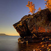 Fall Colours In The Squaw Bay Fallen Rock Poster