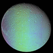 False Color View Of Saturns Moon Dione Poster