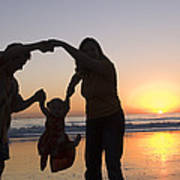 Family Portrait On The Beach At Sunset Poster