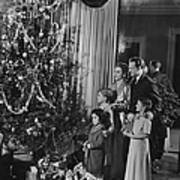 Family With Three Children (4-9) Standing At Christmas Tree, (b&w) Poster
