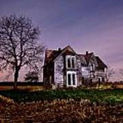 Farm House At Night Poster