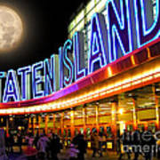 Faux Moon At The Staten Island Ferry Poster